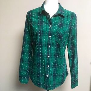 Merona hunter green plaid button-front shirt